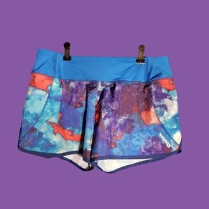 Reebok Blue and Red Watercolor Pattern Shorts